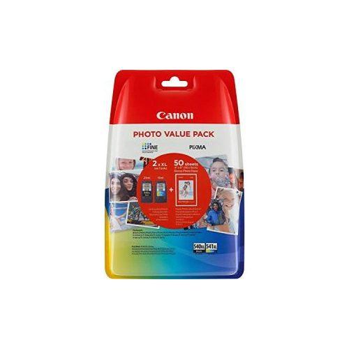 Canon PG-540XL/CL-541XL fekete/színes eredeti tintapatron multipack+ fotópapír